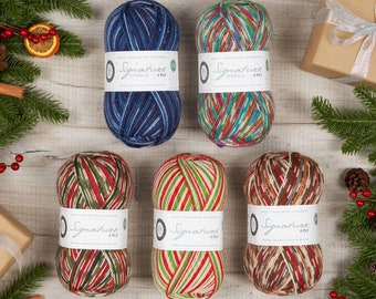 Self striping sock yarn, WYS 4 ply, West Yorkshire Spinners, Bluefaced Leicester wool. Signature 4 ply Christmas yarn.