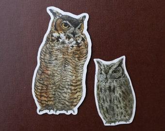 Owl Stickers: Two Vinyl Stickers, Great Horned Owl, Western Screech Owl - Birds Of Prey Stickers - Raptors - Birding gift