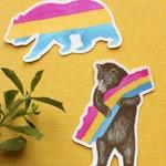 California Pansexual Pride Sticker Set: Two Pan Flag Bear Stickers - LGBTQIA+ Pride Gift - Gay Pride- California Bear