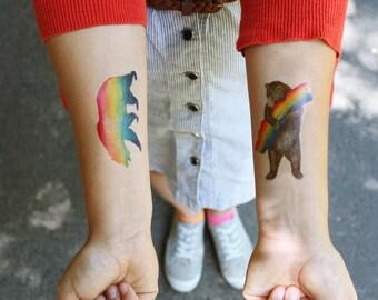 California Pride: Two Temporary Tattoos, Rainbow California Grizzly