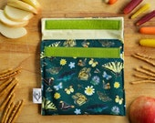 California Pollinators Reusable Snack Sandwich Bag - Zero Waste - Food Storage Bag - Eco-Friendly -Recycled Plastic Fabric -