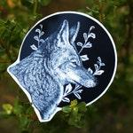 Coyote Sticker Set: Two Circular Vinyl Stickers