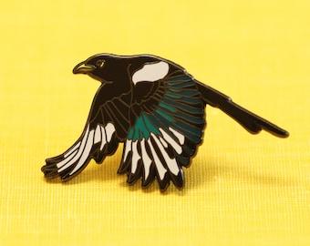 Yellow Billed Magpie Enamel Pin: California Native Bird Pin