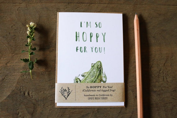 Red Legged Frog Happy Greeting Card I/'m So HOPPY for you