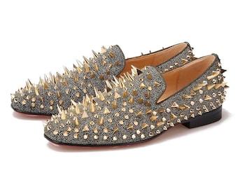 d2e661d1896 Merlutti Gold Rhinestones Rivets Prom Wedding Loafers
