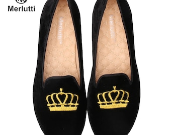 56b5c745615 Women Black Velvet Loafers Princess Crown