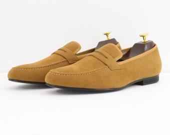 310209671b41 Men Merlutti handmade plain brown velvet slippers loafers