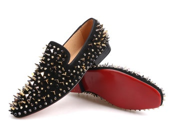 Merlutti Black Gold Rivet Suede Loafers