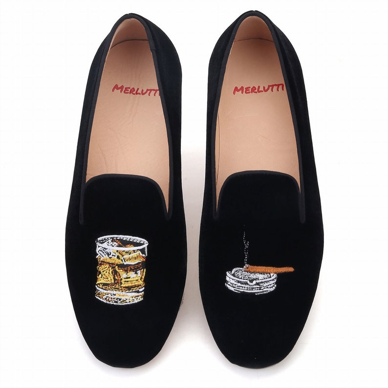 1950s Men's Shoes | Boots, Greaser, Rockabilly Merlutti Velvet Loafer Cigar And Whiskey Glass Embroidery Flat $179.99 AT vintagedancer.com