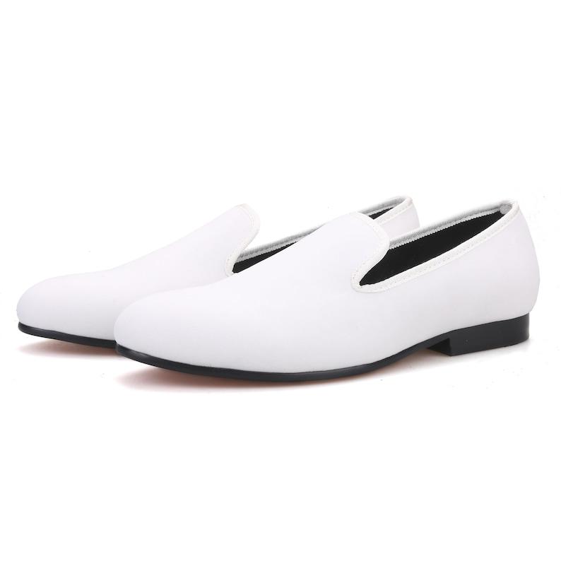 1960s Men's Clothing Merlutti Plain White Velvet Round Toe Loafers $139.99 AT vintagedancer.com