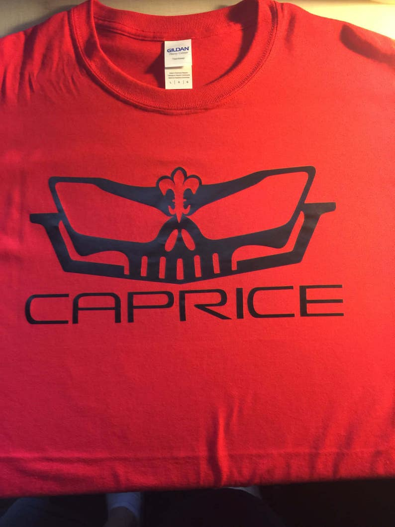 shirt Caprice Skull logo 96 95 94 93 92 91 90 89 88 87 86 85 84 83 82 76 75  Box Bubble Chevy