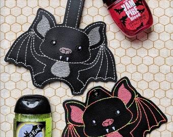 Bat Hand Sanitizer Case - ITH in the Hoop Embroidery Design - DIGITAL ITEM - Snap Tab, Key Fob, Eyelet - Halloween