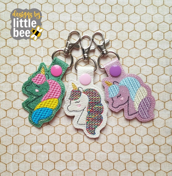UniCorn Snap Tab Embroidery Design,In the Hoop Snap Tab,Key Fob Embroidery Designs,In the hoop Key Fobs,Embroidery Designs,UniCorn Designs