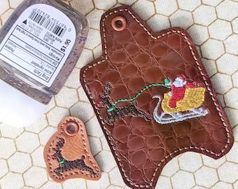Santa's Sleigh Hand Sanitizer Holder Key Fob & Snap Tab - Bonus Rudolph charm - Instant Download Embroidery Design