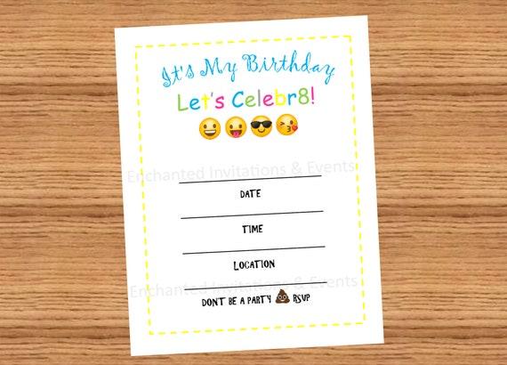 Emoji Birthday Invitations DIY Invites Theme