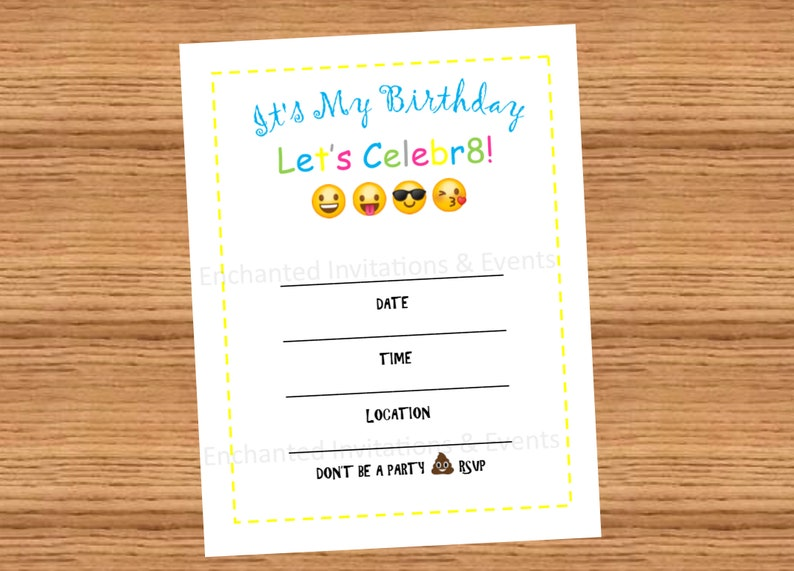 Emoji Birthday Invitations DIY Invites Theme