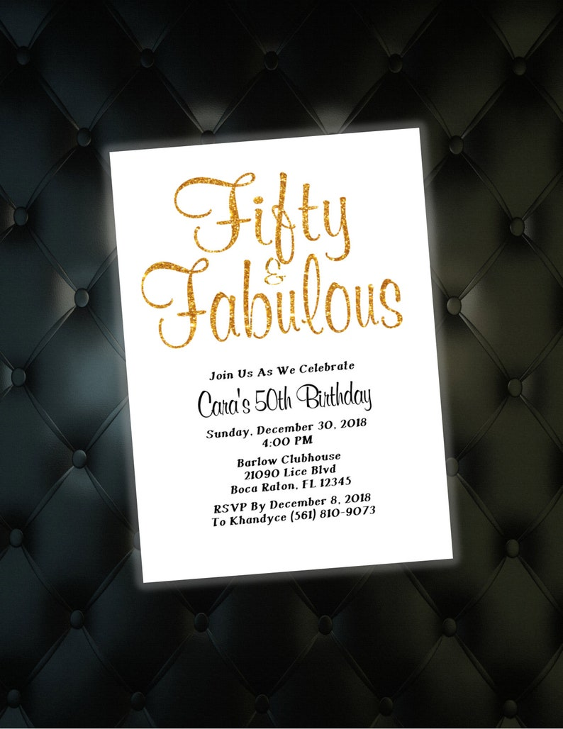 Gold 50th Birthday Invitations 40th Birthday Invites Fiftieth Birthday Invites Fifty And Fabulous Birthday Invites 60th Birthday Pdf