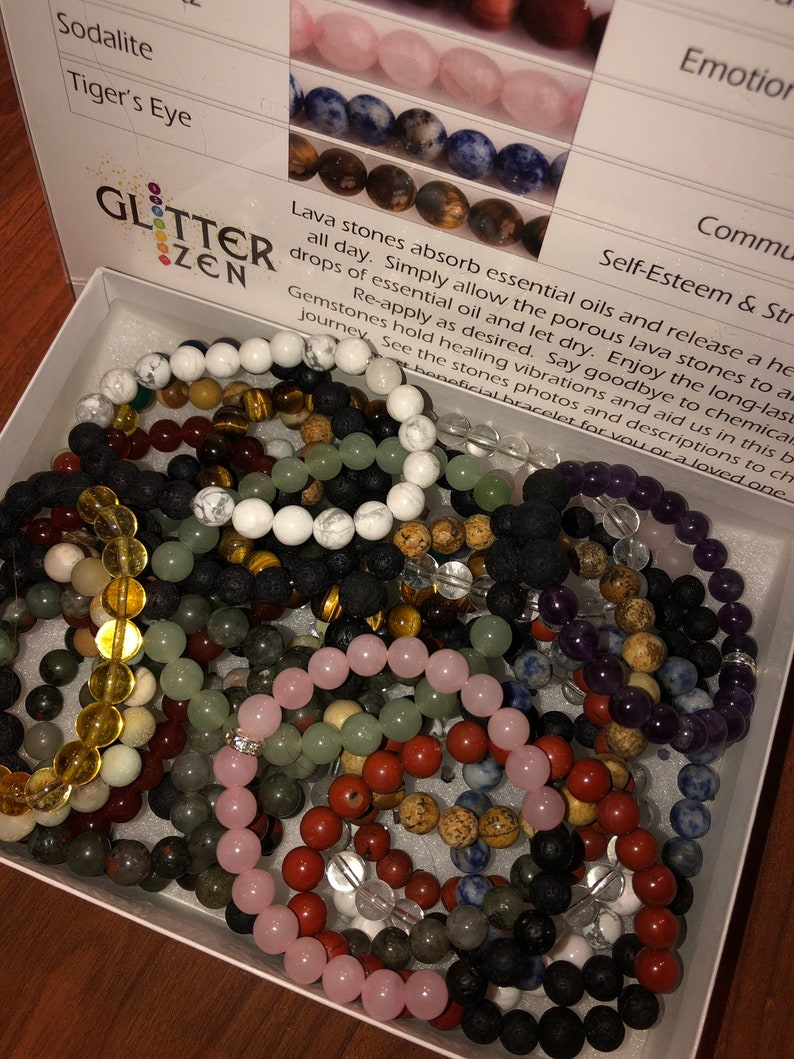 Wholesale Pack of 15 Handmade Aromatherapy Gemstone and Lava Stone  Bracelets  Assorted sizes ans stones  Stones as shown on sign