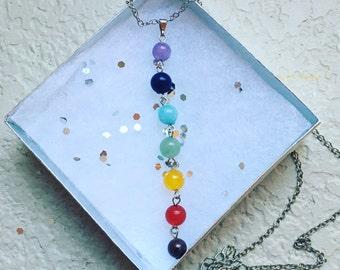 Chakra Necklace, Chakra, Chakras, Silver, Necklace, Reiki, chakra stones, jewelry