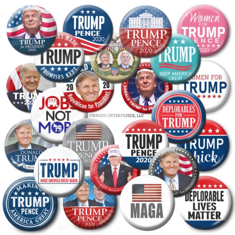 """3 DONALD TRUMP 2020 BIG 2.25/"""" Buttons Pinbacks Pins Badges MAGA Beautiful USA"""