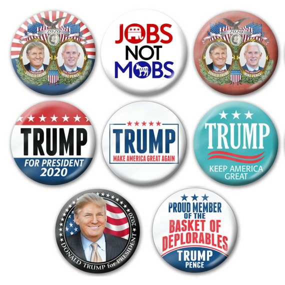 "Assorted Trump 2020 1/"" Lapel Pins MAGA Photo Make America 4-pack Mini Buttons"