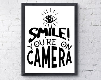 photo relating to Smile You're on Camera Sign Printable known as Printable restroom Etsy