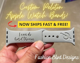 Peloton Personalized Apple Watch Band • Laser Engraved Silicone • Custom / Motivational •38mm 40mm 42mm 44mm • Workout Leaderboard Spin