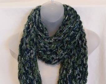 Chunky Green variegated Infinity Scarf