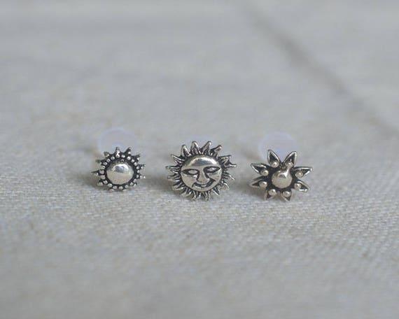 Sterling Silver Sun Cartilage Earring Tragus Earrings Labret Earrings Helix Stud