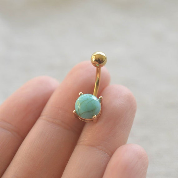 Gold Turquoise Belly Button Rings