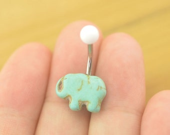 belly button jewelry elephant bellyring turquoise belly button piercing,elephant belly ring