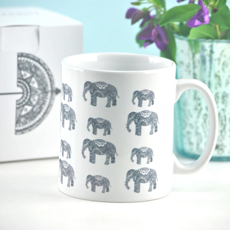 Elephant Family Mug With Optional Gift Box Perfect Unique