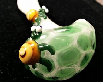 "Glass Tobacco Smoking Pipe - Handmade in the USA ""Turtles on Snow with Honeycomb""  Number 180604-480."