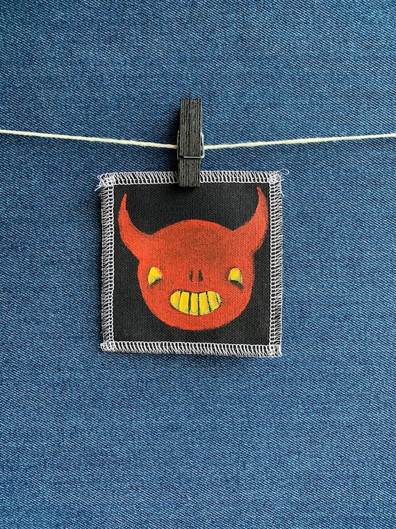 Happy Devil Patch Hand Painted by V