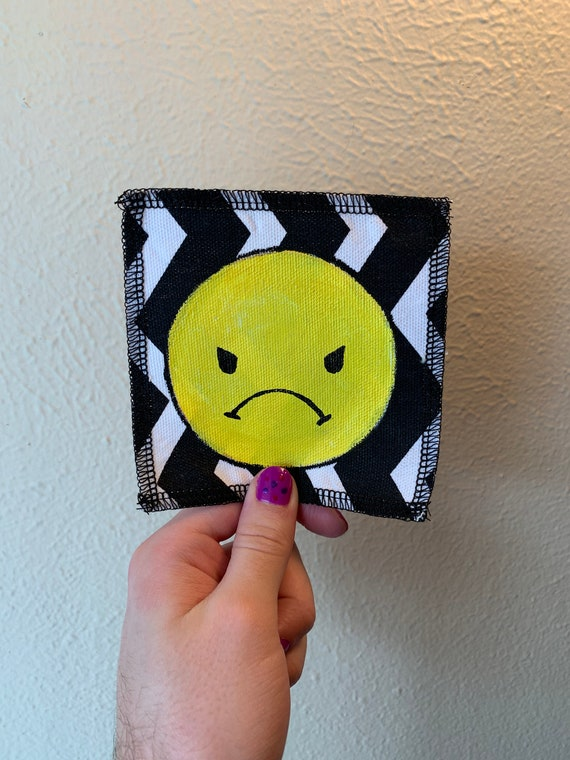 Angry Little Boy Patch Hand Painted by V