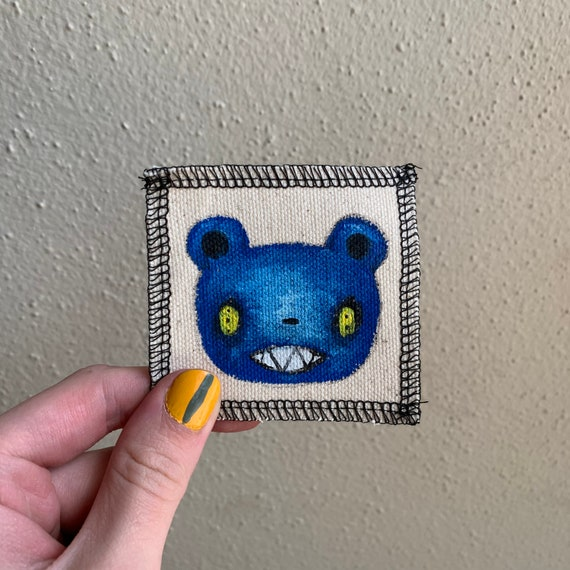 Blue Bear Patch Hand Painted by V