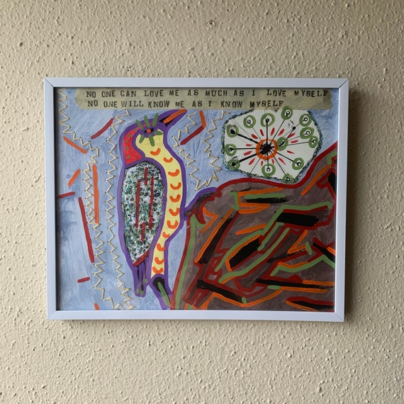 Reminder to Self - Framed Mixed Media Collage