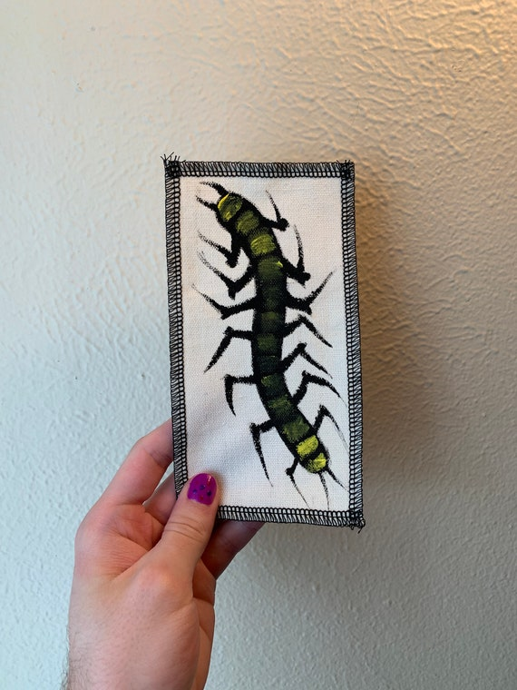 Large Centipede Patch Hand Painted by V