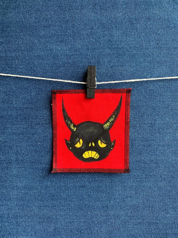 Sad Devil Patch Hand Painted by V
