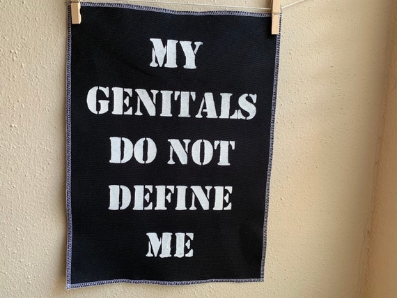 My Genitals Do Not Define Me Back Patch - Black