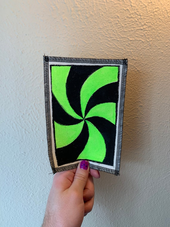 Neon Spiral Patch Hand Painted by V