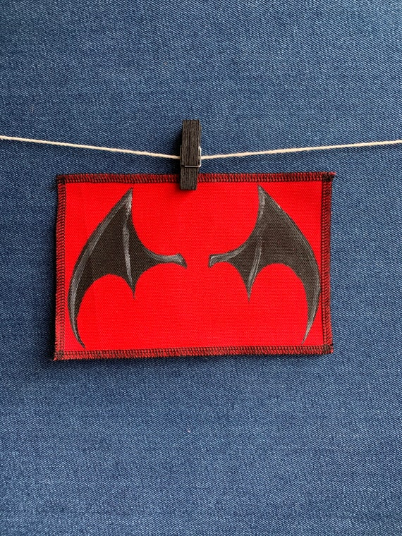 Demon Wing Patch Hand Painted by V