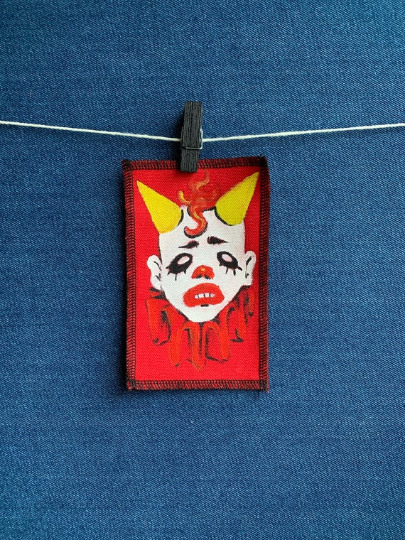 Punk Clown Patch Hand Painted by V