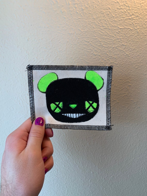 Neon Bear Patch Hand Painted by V