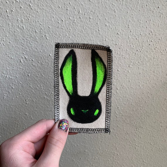 Neon Bunny Patch Hand Painted by V