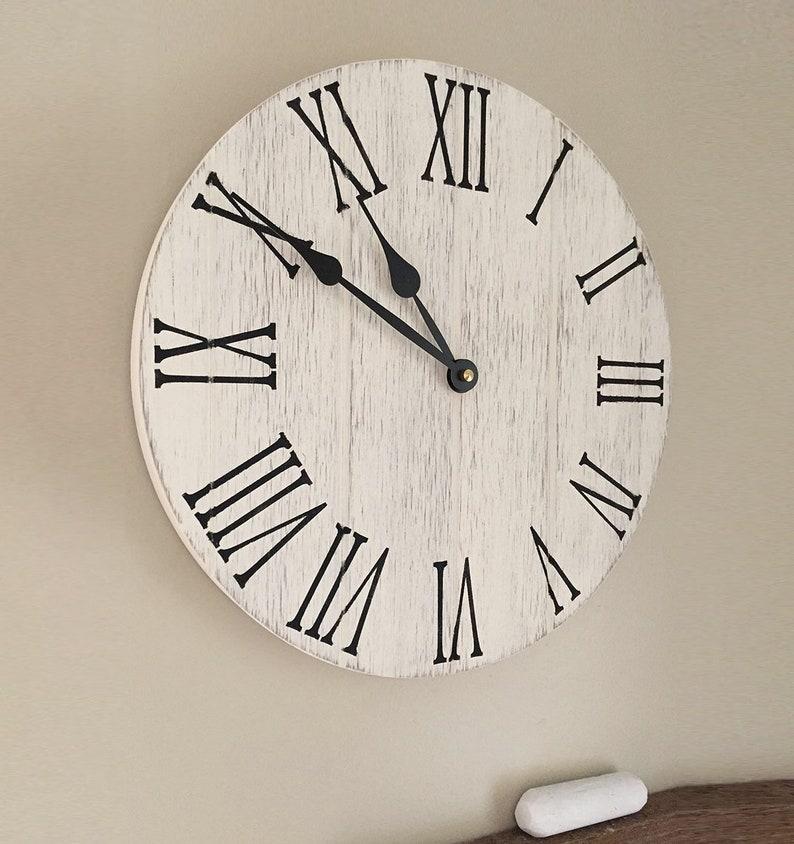 Farmhouse Kitchen Clock 12 Wooden Wall Clock Rustic Kitchen Decor Kitchen Remodel Kitchen Clocks Farmhouse Kitchen Rustic Wall Clock