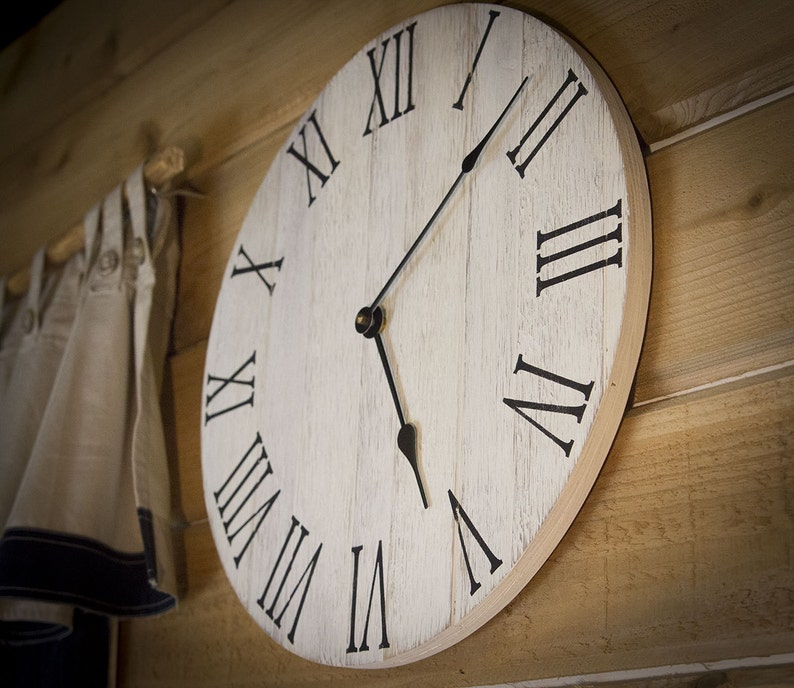 Rustic Farmhouse Clock Wall Clock Large Wood Wall Clock Wall image 0