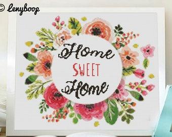 Cross stitch pattern modern. home sweet home cross stich, PDF pattern instant download. Patrón punto de cruz moderno descargable PDF