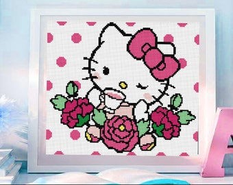 Hello Kitty cross stitch modern pattern, Hello Kitty punto de cruz moderno descarga inmediata PDF. (#53)