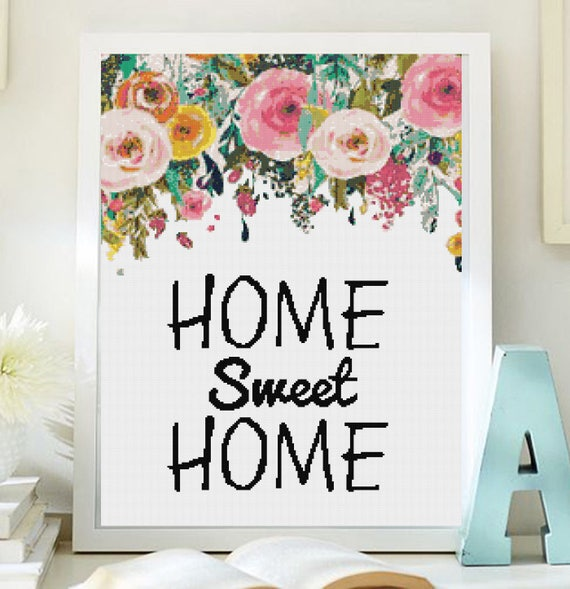 Cross stitch pattern modern. home sweet home cross stich PDF